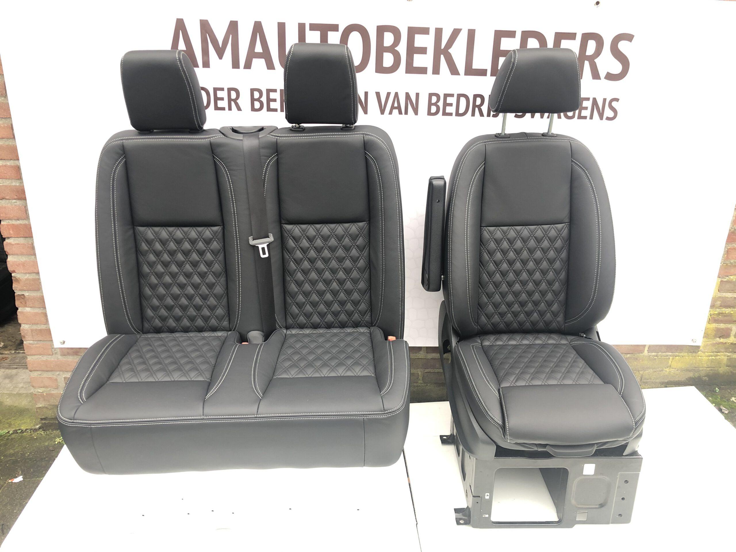 Bestuurdersstoel+Bijrijdersbank met zwart leder ruitmotief voor Sprinter 907