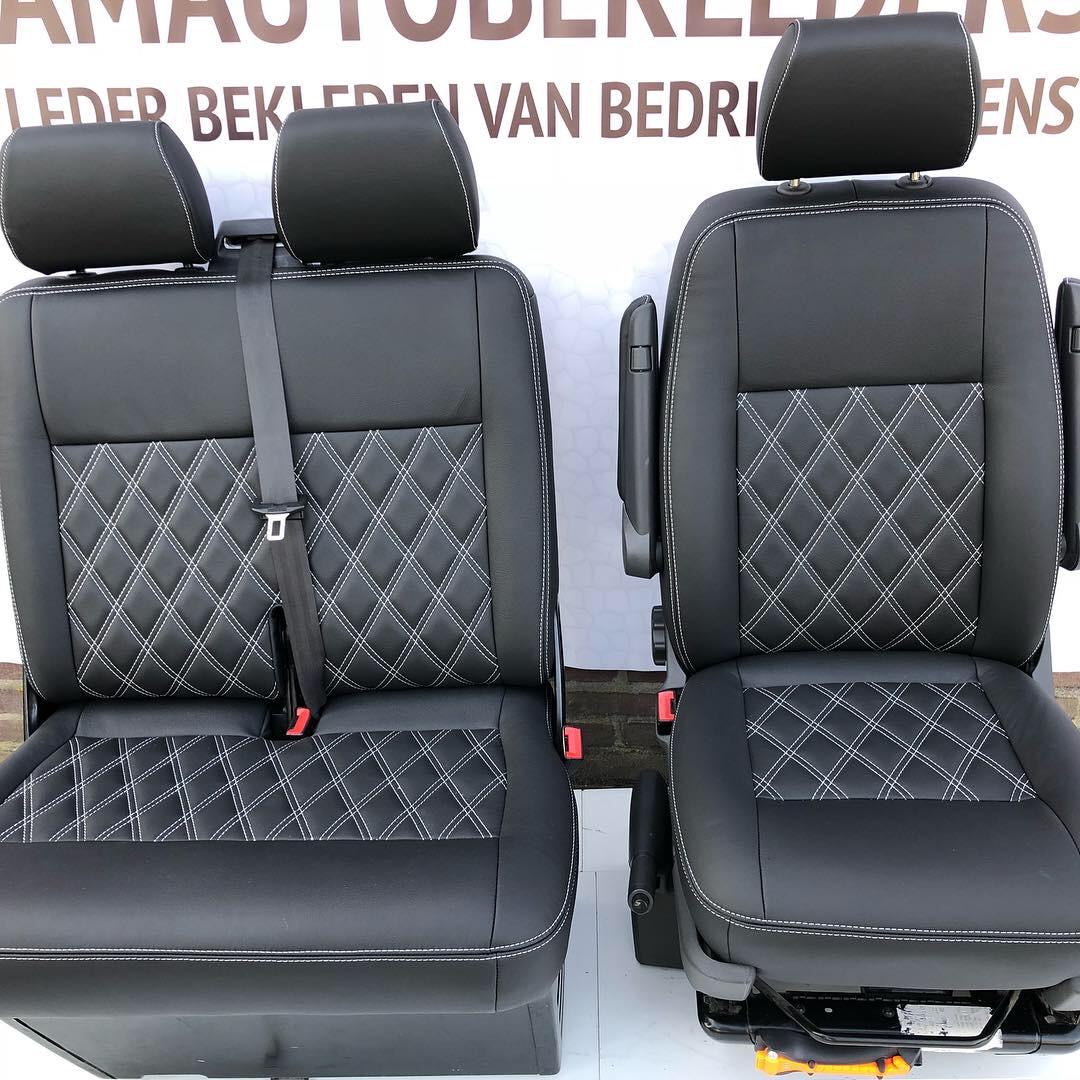 Bestuurderstoel+Bijrijdersbank met zwart leder ruitmotief voor VW T5. T6